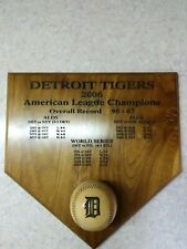 Detroit Tigers 2006 AL Champs Wooden Home Plate & Ball Plaque