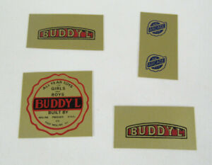 """Buddy-L Round Floor Decal & 2 Rectangle and 2 """"An Arcade Toy"""" Decals"""