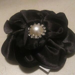 Black Satin Flower Hair Clip With Alligator and Pin Back - Lapel, Brooch