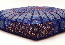 "Peacock Mandala Floor Pillow Indian Tapestry Meditation Cushion Cover Square 35"""