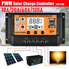Panel solar de seguimiento de punto de potencia máxima Regulador Controlador de Carga 10-100A 12V/24V de seguimiento de enfoque automático