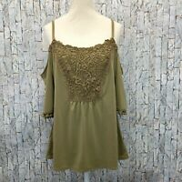 New 7th Avenue Design Studio Cold Shoulder Blouse Size Medium Womens Green Top