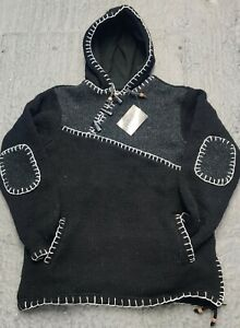 Charcoal patch stitched Handmade Fleece Lined Winter unisex thick woolen Jacket