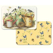 CounterArt Chickadees & Butterflies Reversible Plastic Placemats 4 Set Usa Made