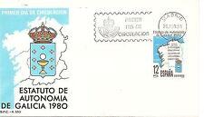 ESPAÑA SOBRE 1º DÍA 1981 2611 ESTATUTO GALICIA MNH **