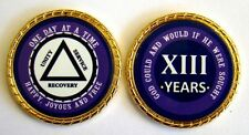 """Alcoholics Anonymous 13 Year Rope Edge Sobriety Coin Chip 1 3/4"""" - Purple/Purple"""