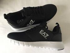 EMPORIO ARMANI EA7 Black Trainers With Large White Logos Size 6-9 BNWT/BOX