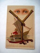 Vintage Alphabet Card for The Letter Y w/ Eyes, Sword and Boy in Sailboat *