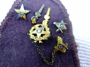 Vintage LOT 7 Eastern Star Masons 10k Gold  Sterling Original Ronson Pouch