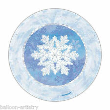 """8 Christmas Party Blue Snowflakes Disposable Small 7"""" Paper Dessert Plates"""