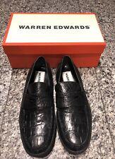 Warren Edwards Black Alligator Men's Loafers Shoes