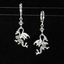 *SJ1* 3D Dragon Charm Sterling Silver Dangle Earrings w/ Swarovski Crystal