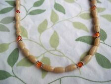 15 Inch TAN Glass and ORANGE Crystal Bead SILVER Spacer Necklace CHOKER G-63