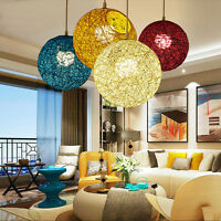 New 20-30cm Round Wicker Ceiling Pendant Light Shade Easy Fit Lampshade Lighting