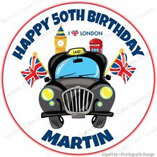 Personalised Black Taxi London City Cab Edible Icing Birthday Party Cake Topper