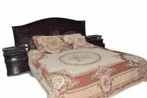 DaDa Bedding Orange Victorian Chenille Tapestry Floral Medallion Bedspread Set