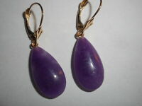 14K Vintage Purple JADE Hanging EARRINGS LeverBack gorgeous rare mint unused