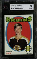 1971-72 TOPPS~#100~BOBBY ORR~HALL OF FAME~BOSTON BRUINS~KSA 9 MINT