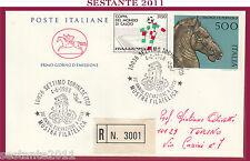 ITALIA FDC CAVALLINO 1988 BRONZI DI PERGOLA AN. SETTIMO TORINESE RACCOMANDATA Z4