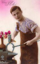BK114 Carte Photo vintage card RPPC Homme St Eloi Forgeron fleurs fantaisie