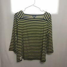 American Living Womens 3/4 Sleeve Stripe Shirt Sz XL Yellow Blue Square Neck
