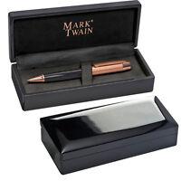 Hochwertiger Mark Twain Drehkugelschreiber mit Kupferverzierungen in Klavierlack
