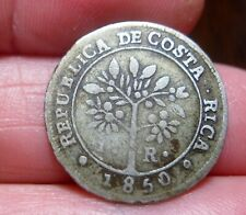 1850 (COSTA RICA) 1 REAL (SILVER) FEMALE / COFFEE TREE-   --RARE----