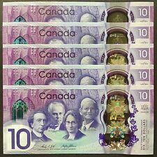 2017 CANADA 10 DOLLARS POLYMER P-NEW UNC *COMMEMORATIVE* LOT 5 PCS NR