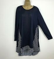 NEW QED London Tunic Top Lagenlook Navy Blue White Striped Womens UK Size 22 24