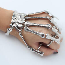 Silver Tone Punk Gothic Skull Fingers Skeleton Bracelet Ring Slave Bones Talon