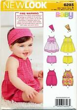 NEW LOOK SEWING PATTERN 6293 BABY SZ NB-L DRESS, ROMPER & PANTS / NAPPY COVER