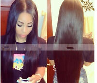 Peruvian Lace Front/Full Lace  wigs human Remy Hair silky straight  4 colors