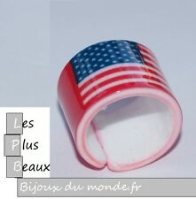 Bague ANNEAU LARGE USA AMERICA NEW YORK en Plastique NEUF