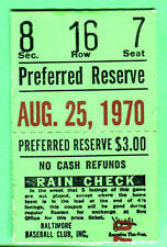 8/25/70 ORIOLES DAVE MCNALLY WIN #20 OF YEAR TICKET STUB
