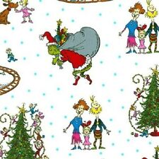 HOW THE GRINCH STOLE CHRISTMAS WHITE SCENIC FABRIC