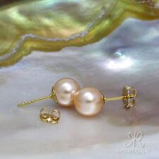 KLASSIKER ● 8mm ●  SC Perlen hell rosa + Ohrstecker ygf 14k Gold 585