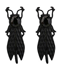 NEW Beetle Flying Insect Black Metal and Crystal Halloween Gothic Stud Earrings