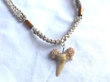 "Hawaiian Surfer Style Fossil Shark Tooth Necklace 18"" Great Sharks Teeth"