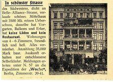 Immobilien in Berlin Südwest nähe Bellealliancestr.Mittelhaus Histor.Annonce1899