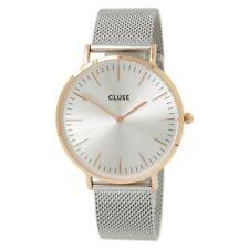 Relojes de pulsera de acero inoxidable plateado resistente al agua para mujer