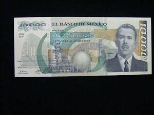 1988 MEXICO BANCO 10,000 PESO BANKNOTE CRISP AU/UNC  MEX-201