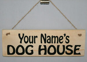 Personalised DOG HOUSE Puppy Kennel Pet Outdoor Hanging Sign Plaque Garden Yard
