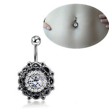 GN- Sexy Retro Flower Crystal Navel Belly Button Ring Bar Body Piercing Jewelry