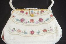 POINT DE BEAUVAIS & BEADED FRENCH PURSE EVENING BAG – VERY SPECIAL! TT639