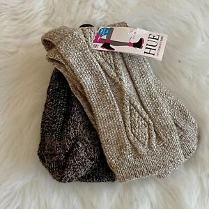 HUE Women's 2 Pack Cable Boot Socks Tan Beige One Size NEW NWT