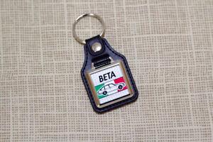 Lancia Beta Keyring - Leatherette & Chrome Keytag