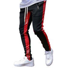 Men's Contrast Sport Pants Zipper Pocket Tracksuit Joggers Trousers Sweatpants