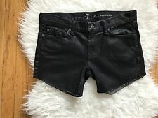 7 for all mankind ROXANNE~INDIANAPOLIS~SHINY BLACK COATED CUT OFF RAW HEM SHORTS