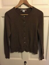 Brown 100% Cashmere Cardigan by Evelyn Grace Cashmere Size Medium (Damaged)