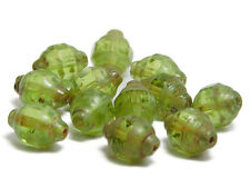 11x8mm Olivine Picasso Czech Glass Faceted Turbine Beads (12) #1807